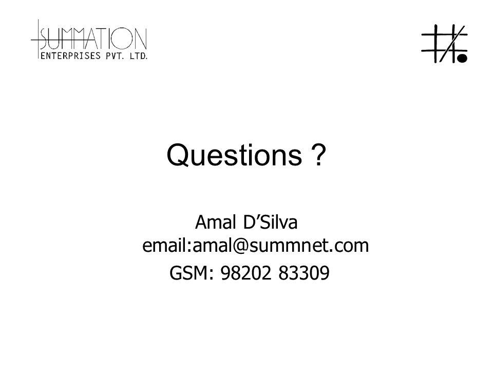 Questions Amal D'Silva email:amal@summnet.com GSM: 98202 83309