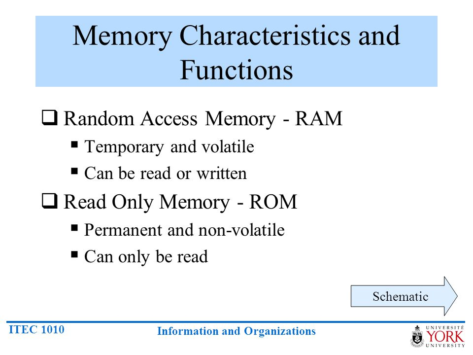 ITEC 1010 Information and Organizations Memory Characteristics and Functions  Random Access Memory - RAM  Temporary and volatile  Can be read or wr