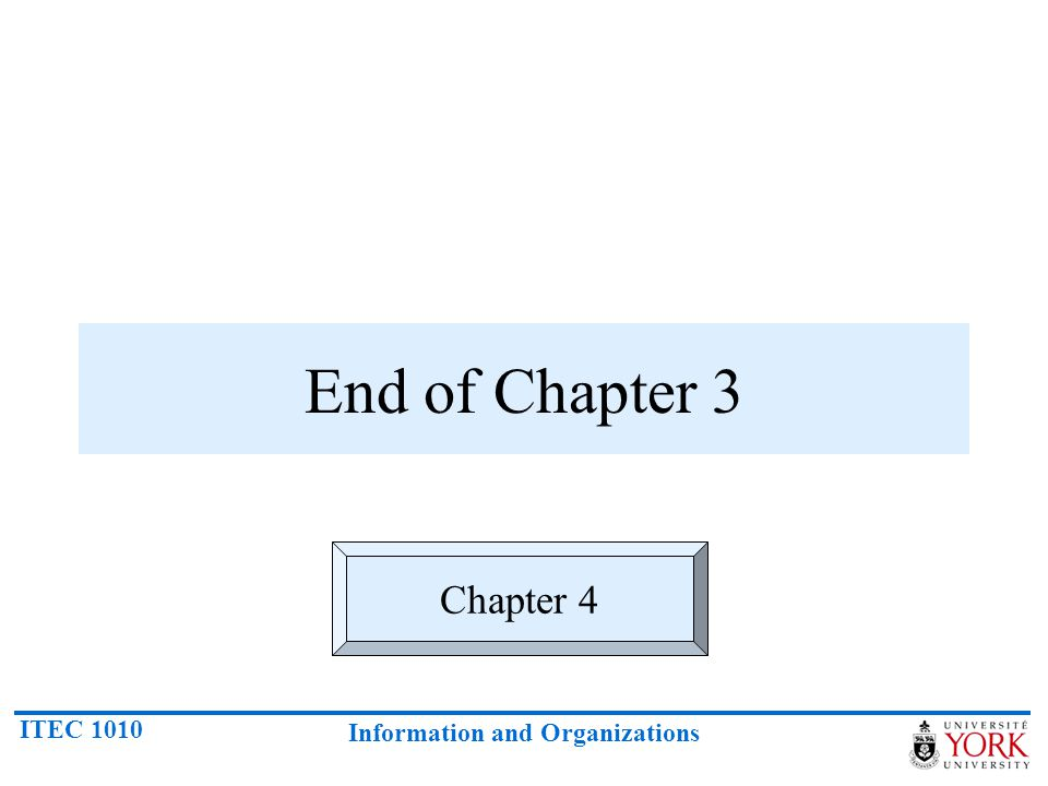 ITEC 1010 Information and Organizations End of Chapter 3 Chapter 4