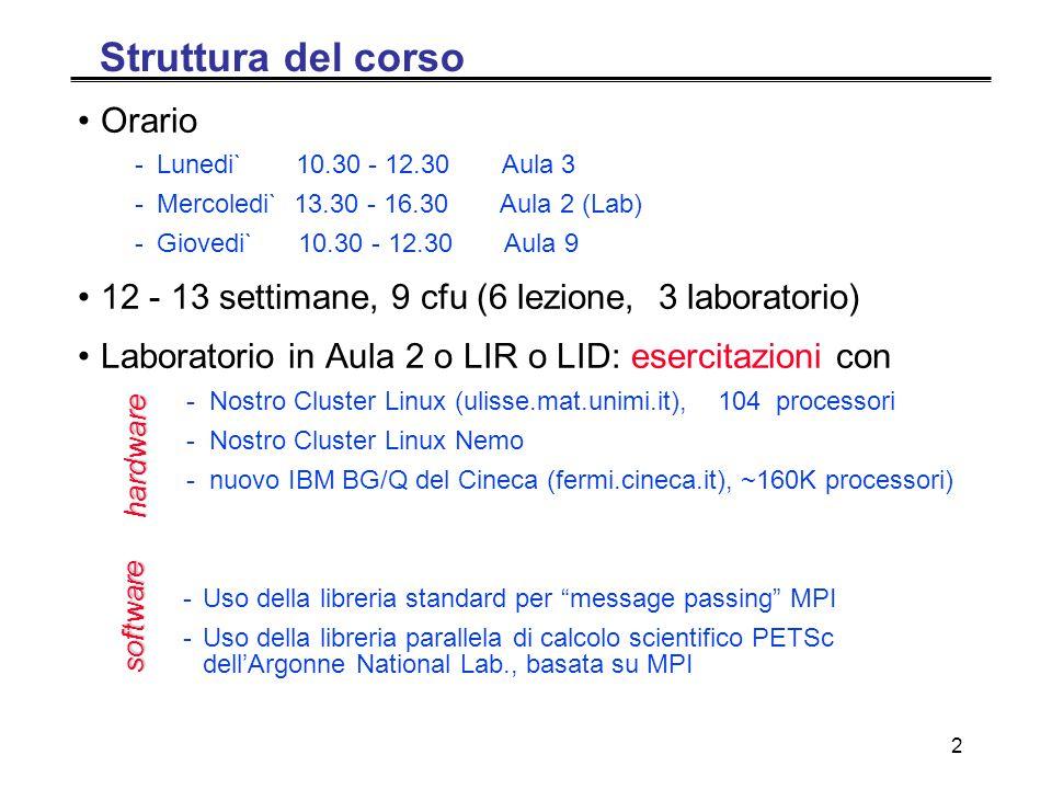 2 Struttura del corso Orario -Lunedi` 10.30 - 12.30 Aula 3 -Mercoledi` 13.30 - 16.30 Aula 2 (Lab) -Giovedi` 10.30 - 12.30 Aula 9 12 - 13 settimane, 9 cfu (6 lezione, 3 laboratorio) Laboratorio in Aula 2 o LIR o LID: esercitazioni con - Nostro Cluster Linux (ulisse.mat.unimi.it), 104 processori - Nostro Cluster Linux Nemo - nuovo IBM BG/Q del Cineca (fermi.cineca.it), ~160K processori) -Uso della libreria standard per message passing MPI -Uso della libreria parallela di calcolo scientifico PETSc dell'Argonne National Lab., basata su MPI hardware software