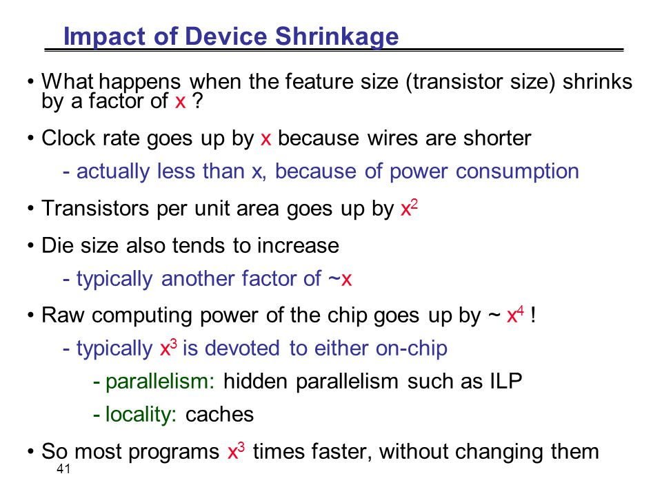 41 Impact of Device Shrinkage What happens when the feature size (transistor size) shrinks by a factor of x .