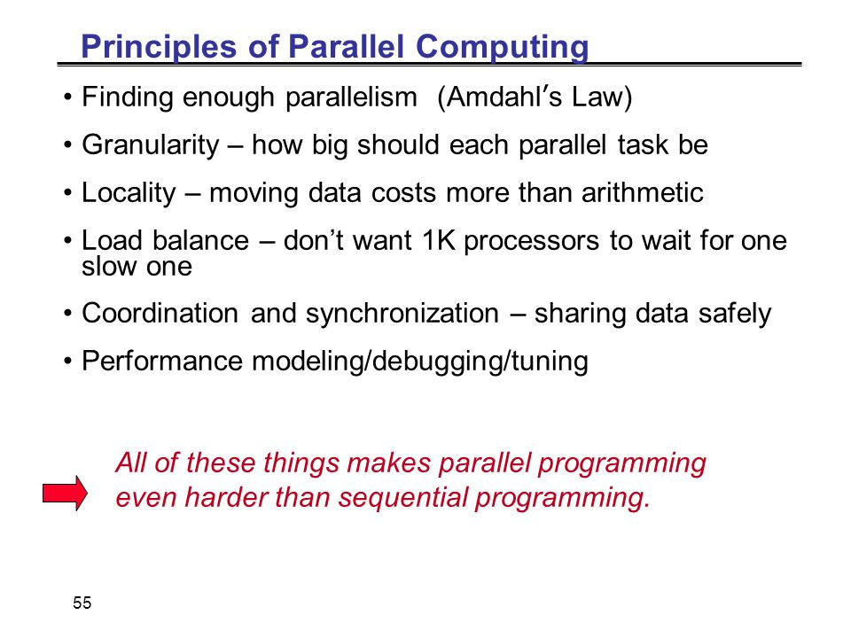 55 Principles of Parallel Computing Finding enough parallelism (Amdahl's Law) Granularity – how big should each parallel task be Locality – moving data costs more than arithmetic Load balance – don't want 1K processors to wait for one slow one Coordination and synchronization – sharing data safely Performance modeling/debugging/tuning All of these things makes parallel programming even harder than sequential programming.