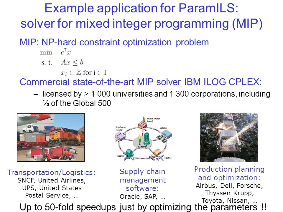 Example application for ParamILS: solver for mixed integer programming (MIP) MIP: NP-hard constraint optimization problem Commercial state-of-the-art MIP solver IBM ILOG CPLEX: –licensed by > 1 000 universities and 1 300 corporations, including ⅓ of the Global 500 Up to 50-fold speedups just by optimizing the parameters !.