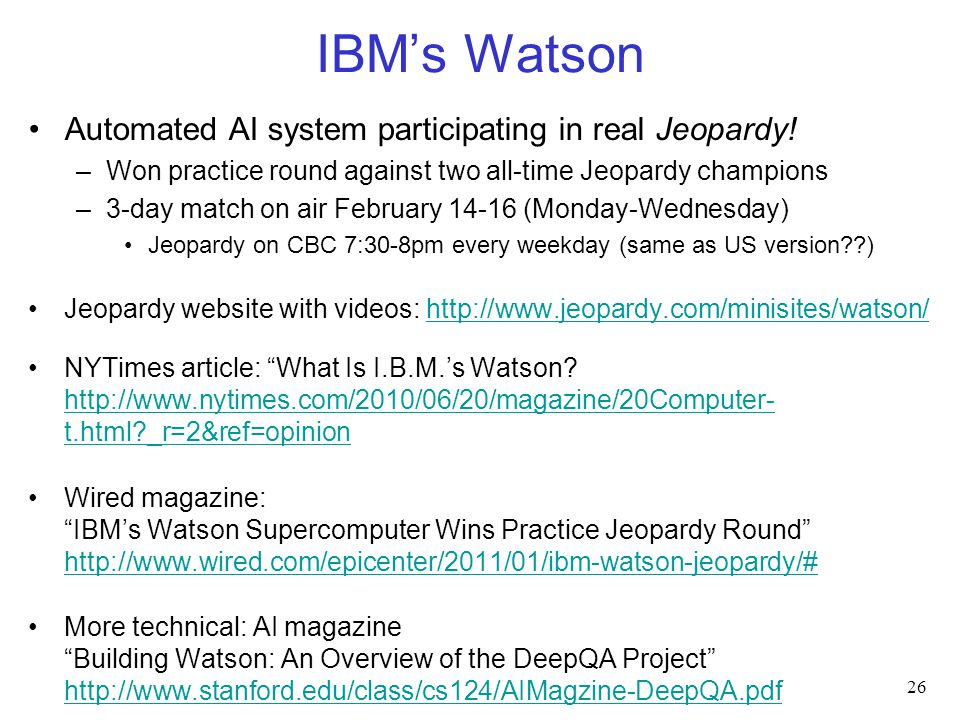 IBM's Watson Automated AI system participating in real Jeopardy.