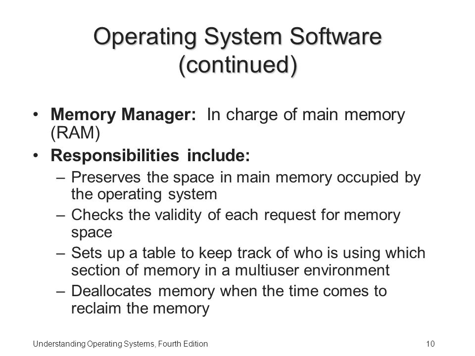 Understanding Operating Systems, Fourth Edition10 Operating System Software (continued) Memory Manager: In charge of main memory (RAM) Responsibilities include: –Preserves the space in main memory occupied by the operating system –Checks the validity of each request for memory space –Sets up a table to keep track of who is using which section of memory in a multiuser environment –Deallocates memory when the time comes to reclaim the memory