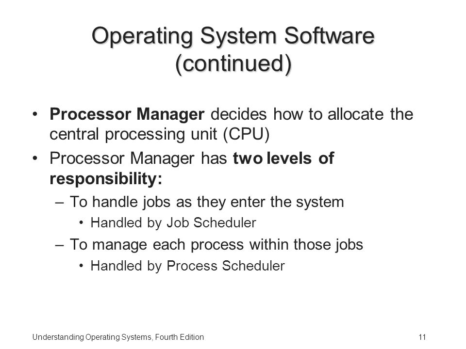 Understanding Operating Systems, Fourth Edition11 Operating System Software (continued) Processor Manager decides how to allocate the central processing unit (CPU) Processor Manager has two levels of responsibility: –To handle jobs as they enter the system Handled by Job Scheduler –To manage each process within those jobs Handled by Process Scheduler