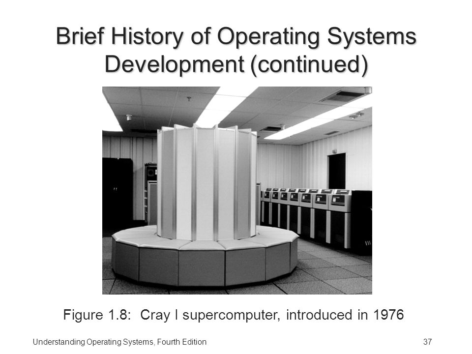 Understanding Operating Systems, Fourth Edition37 Brief History of Operating Systems Development (continued) Figure 1.8: Cray I supercomputer, introduced in 1976