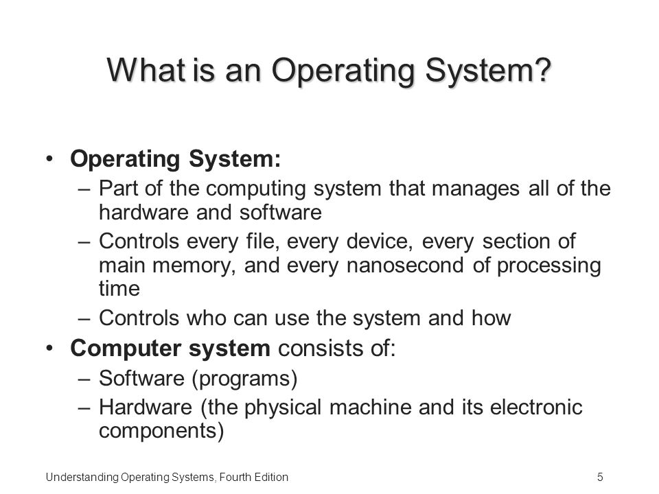 Understanding Operating Systems, Fourth Edition5 What is an Operating System.