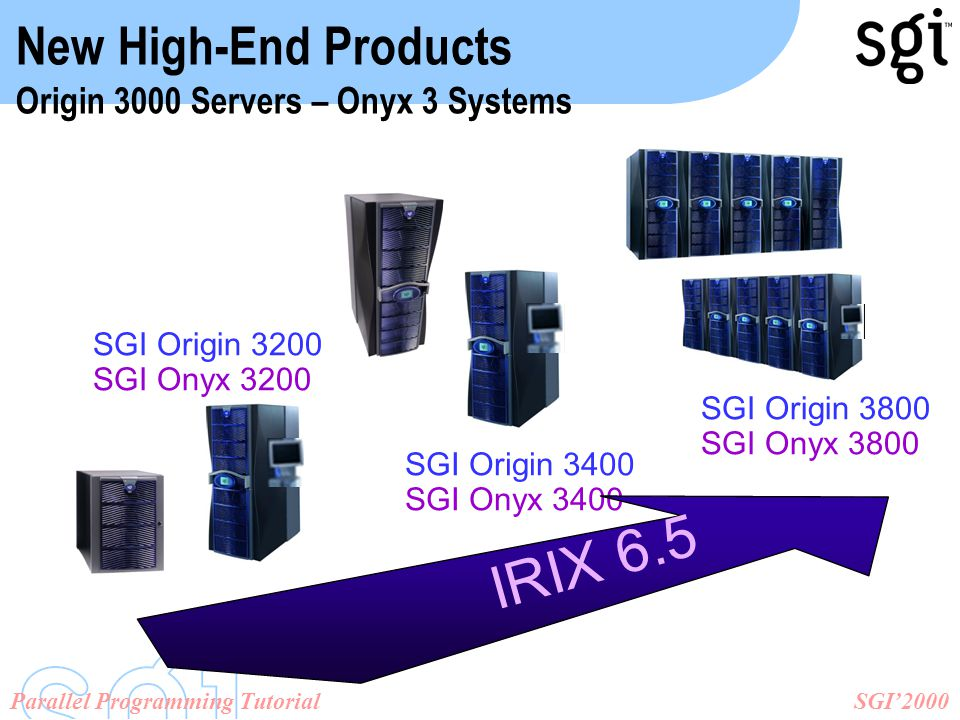 SGI'2000Parallel Programming Tutorial SGI Origin 3200 SGI Onyx 3200 SGI Origin 3400 SGI Onyx 3400 SGI Origin 3800 SGI Onyx 3800 New High-End Products Origin 3000 Servers – Onyx 3 Systems IRIX 6.5