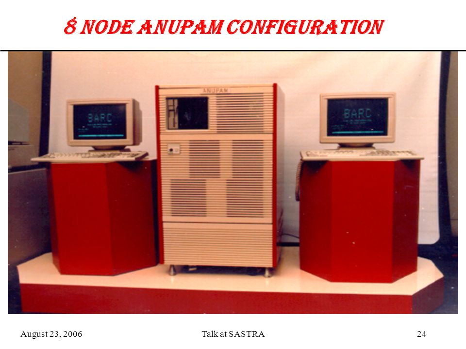 August 23, 2006Talk at SASTRA23 0 115 wscsi 0 115 wscsi 0 1 15 wscsi 0 115 wscsi 64 NODE ANUPAM CONFIGURATION Y Y X X MB II BUS