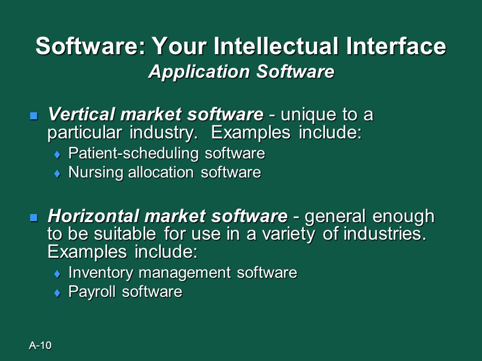 A-10 Software: Your Intellectual Interface Application Software Vertical market software - unique to a particular industry.