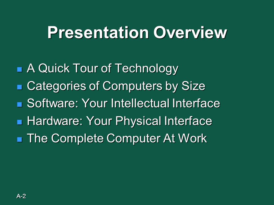 A-2 Presentation Overview A Quick Tour of Technology A Quick Tour of Technology Categories of Computers by Size Categories of Computers by Size Software: Your Intellectual Interface Software: Your Intellectual Interface Hardware: Your Physical Interface Hardware: Your Physical Interface The Complete Computer At Work The Complete Computer At Work