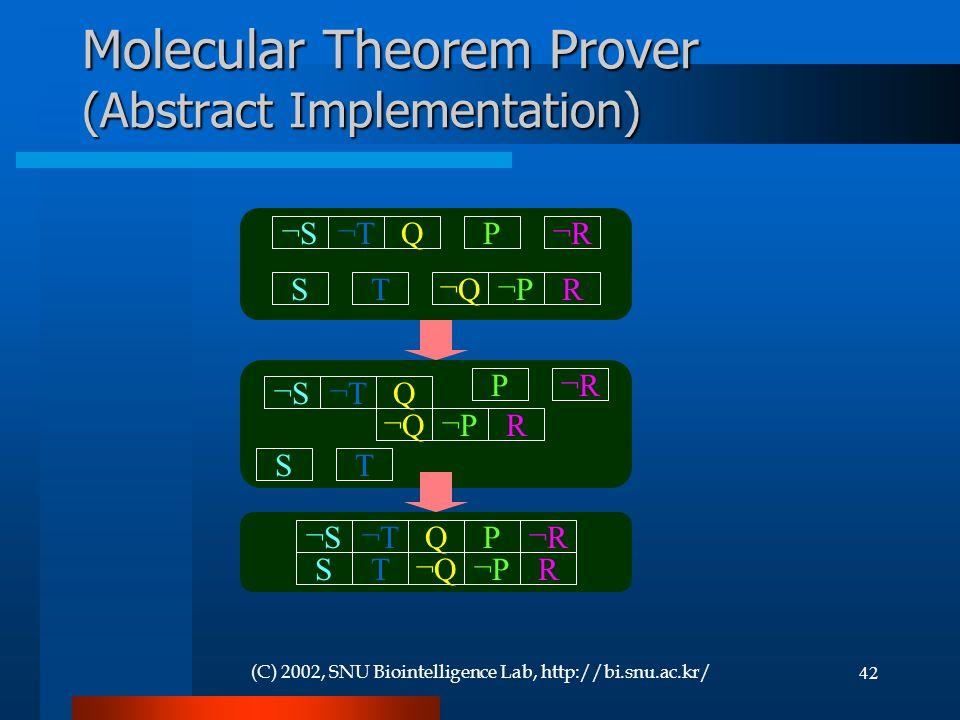 (C) 2002, SNU Biointelligence Lab, http://bi.snu.ac.kr/42 Molecular Theorem Prover (Abstract Implementation) ¬S¬S¬T¬TQ¬Q¬Q¬P¬PR P¬R¬R TS ¬S¬S¬T¬TQ¬Q¬Q¬P¬PR P¬R¬R TS ¬S¬S¬T¬TQ¬Q¬Q¬P¬PR P¬R¬R TS