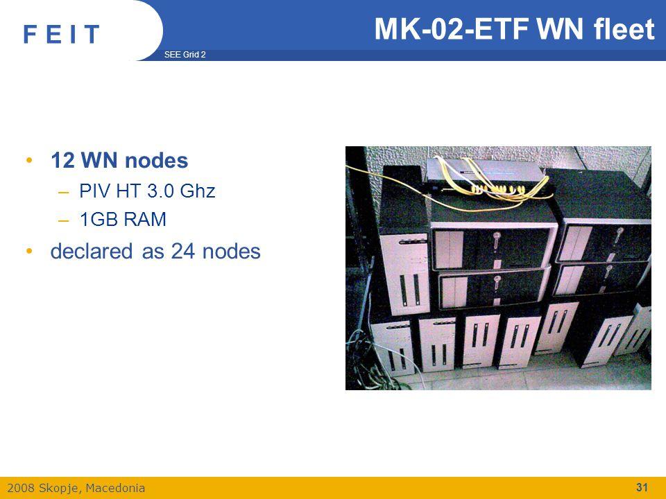 SEE Grid 2 2008 Skopje, Macedonia F E I T 31 MK-02-ETF WN fleet 12 WN nodes –PIV HT 3.0 Ghz –1GB RAM declared as 24 nodes