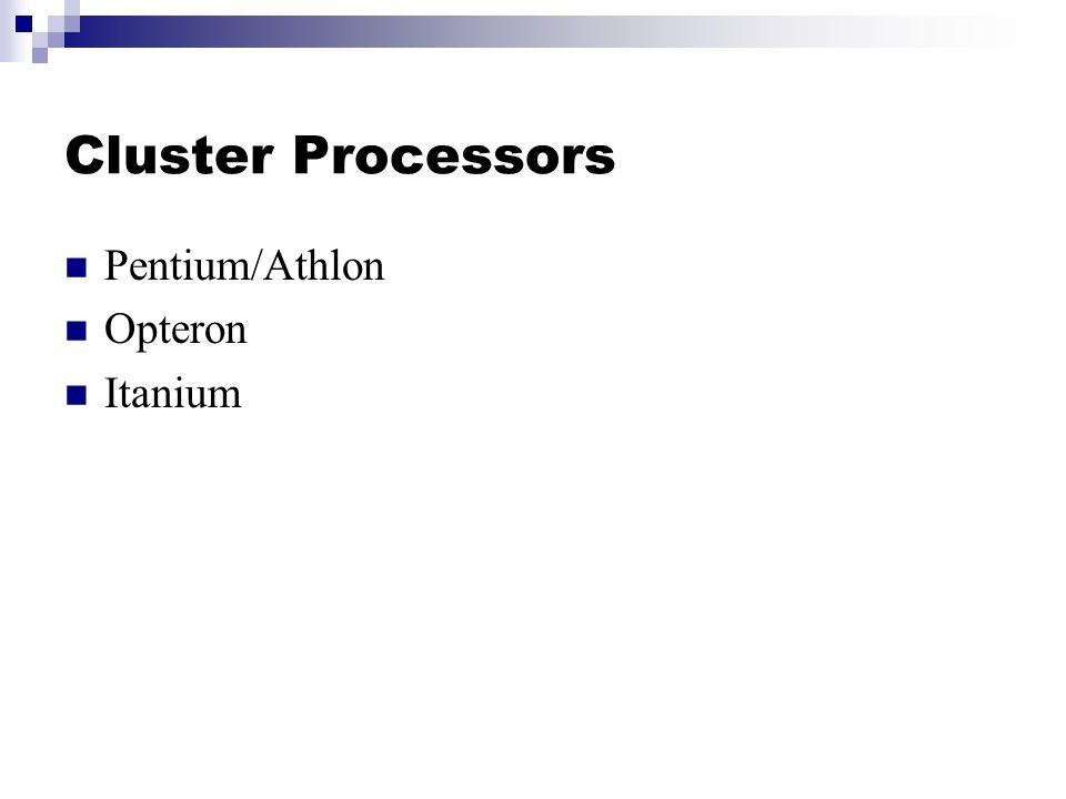 Cluster Processors Pentium/Athlon Opteron Itanium
