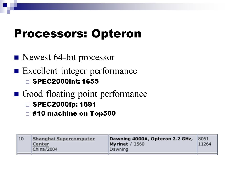 Processors: Opteron Newest 64-bit processor Excellent integer performance  SPEC2000int: 1655 Good floating point performance  SPEC2000fp: 1691  #10 machine on Top500