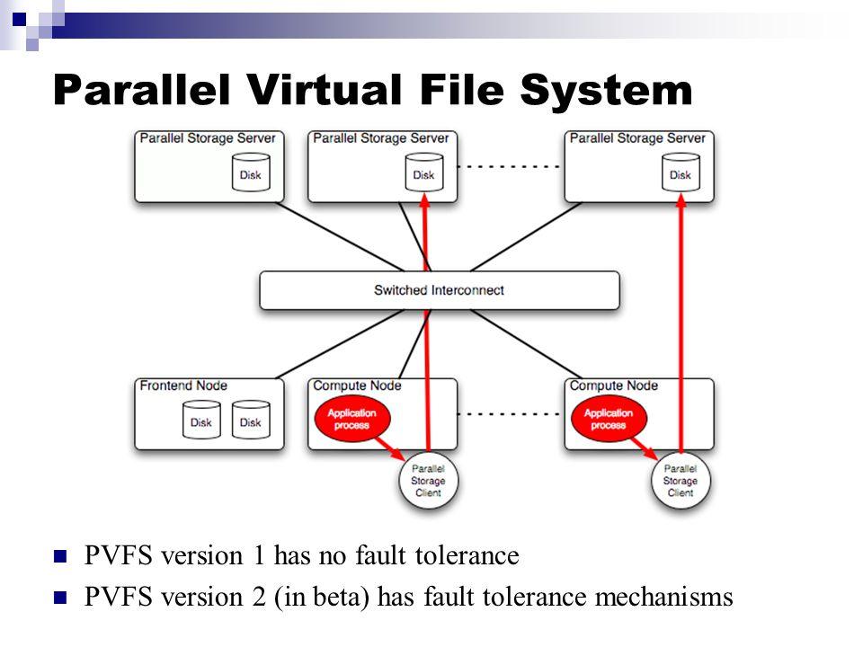 Parallel Virtual File System PVFS version 1 has no fault tolerance PVFS version 2 (in beta) has fault tolerance mechanisms