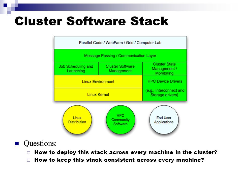 Cluster Software Stack Questions:  How to deploy this stack across every machine in the cluster.