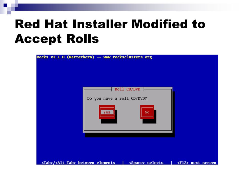 Red Hat Installer Modified to Accept Rolls