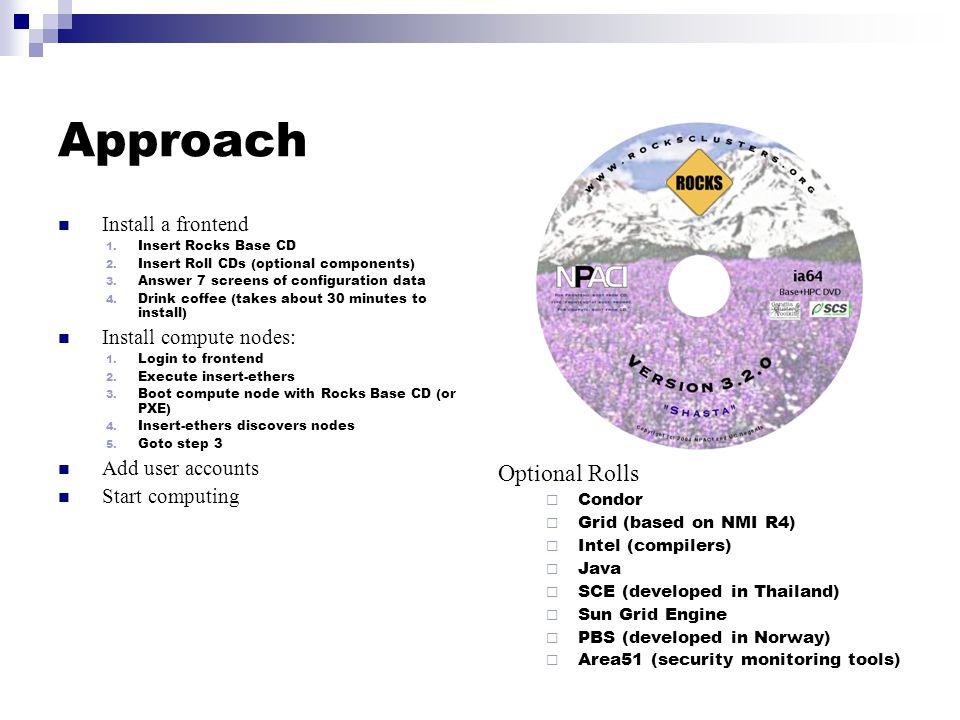 Approach Install a frontend 1. Insert Rocks Base CD 2.