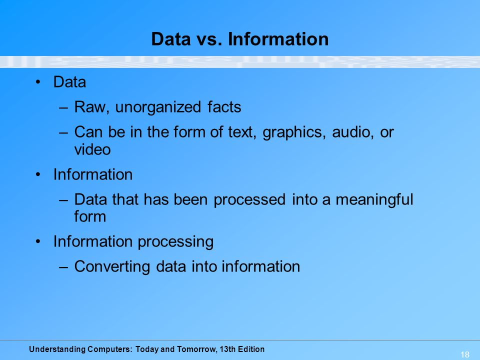 Understanding Computers: Today and Tomorrow, 13th Edition 18 Data vs. Information Data –Raw, unorganized facts –Can be in the form of text, graphics,