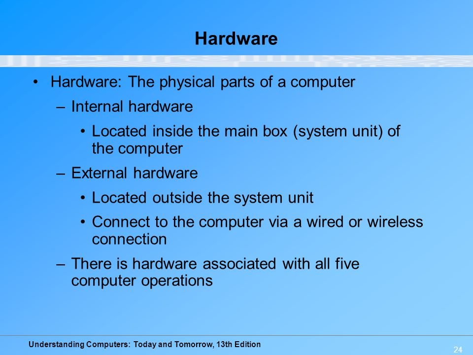 Understanding Computers: Today and Tomorrow, 13th Edition 24 Hardware Hardware: The physical parts of a computer –Internal hardware Located inside the