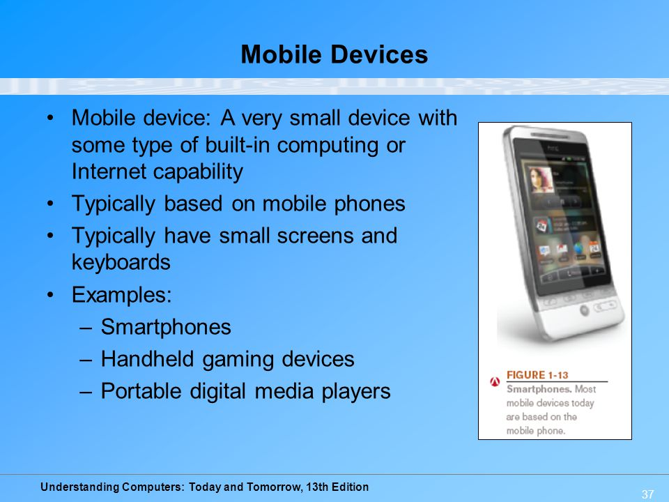 Understanding Computers: Today and Tomorrow, 13th Edition 37 Mobile Devices Mobile device: A very small device with some type of built-in computing or