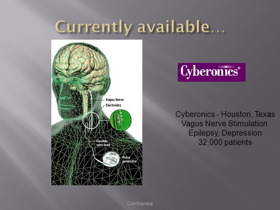 Cyberonics - Houston, Texas Vagus Nerve Stimulation Epilepsy, Depression 32,000 patients Confidential