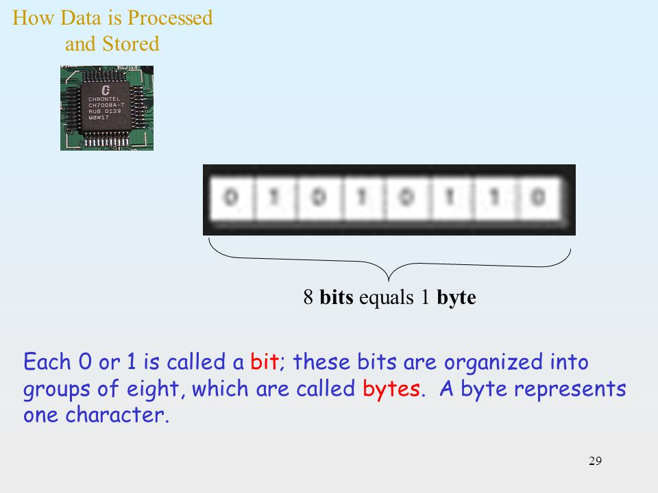 29 Each 0 or 1 is called a bit; these bits are organized into groups of eight, which are called bytes. A byte represents one character. 8 bits equals