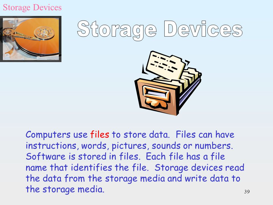 39 Computers use files to store data. Files can have instructions, words, pictures, sounds or numbers. Software is stored in files. Each file has a fi