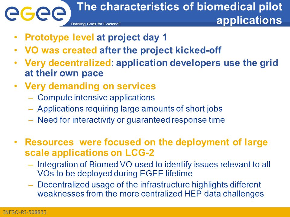 Enabling Grids for E-sciencE INFSO-RI-508833 The characteristics of biomedical pilot applications Prototype level at project day 1 VO was created after the project kicked-off Very decentralized: application developers use the grid at their own pace Very demanding on services –Compute intensive applications –Applications requiring large amounts of short jobs –Need for interactivity or guaranteed response time Resources were focused on the deployment of large scale applications on LCG-2 –Integration of Biomed VO used to identify issues relevant to all VOs to be deployed during EGEE lifetime –Decentralized usage of the infrastructure highlights different weaknesses from the more centralized HEP data challenges