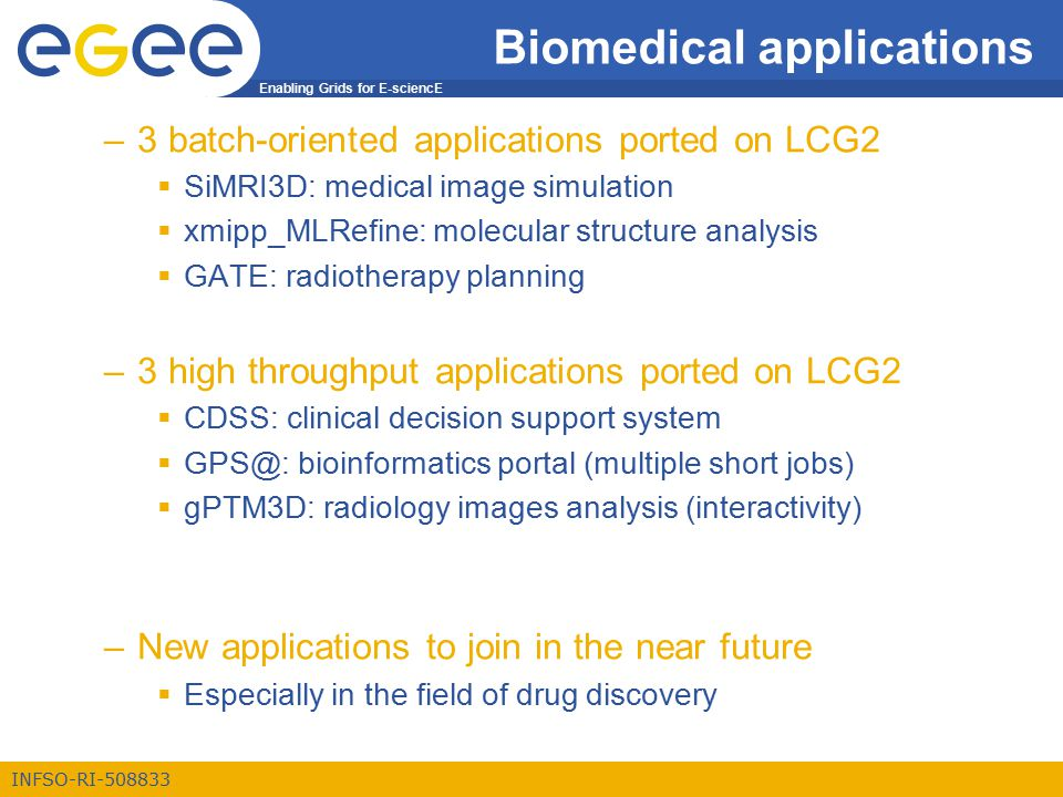Enabling Grids for E-sciencE INFSO-RI-508833 Biomedical applications –3 batch-oriented applications ported on LCG2  SiMRI3D: medical image simulation  xmipp_MLRefine: molecular structure analysis  GATE: radiotherapy planning –3 high throughput applications ported on LCG2  CDSS: clinical decision support system  GPS@: bioinformatics portal (multiple short jobs)  gPTM3D: radiology images analysis (interactivity) –New applications to join in the near future  Especially in the field of drug discovery