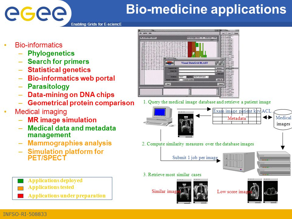 Enabling Grids for E-sciencE INFSO-RI-508833 Bio-medicine applications Medical images Exam image patient key ACL...