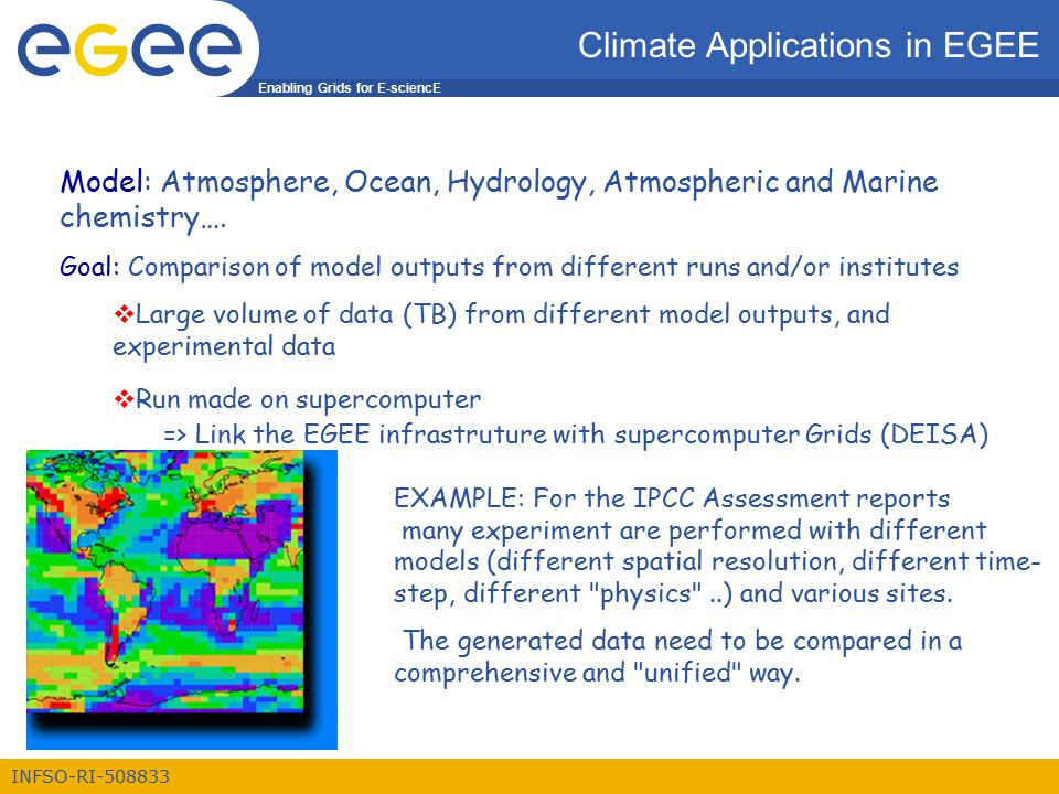 Enabling Grids for E-sciencE INFSO-RI-508833 Climate Applications in EGEE Model: Atmosphere, Ocean, Hydrology, Atmospheric and Marine chemistry….