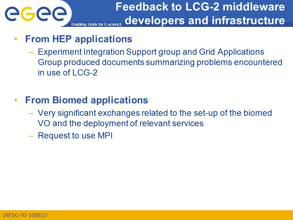 Enabling Grids for E-sciencE INFSO-RI-508833 Feedback to LCG-2 middleware developers and infrastructure From HEP applications –Experiment Integration Support group and Grid Applications Group produced documents summarizing problems encountered in use of LCG-2 From Biomed applications –Very significant exchanges related to the set-up of the biomed VO and the deployment of relevant services –Request to use MPI