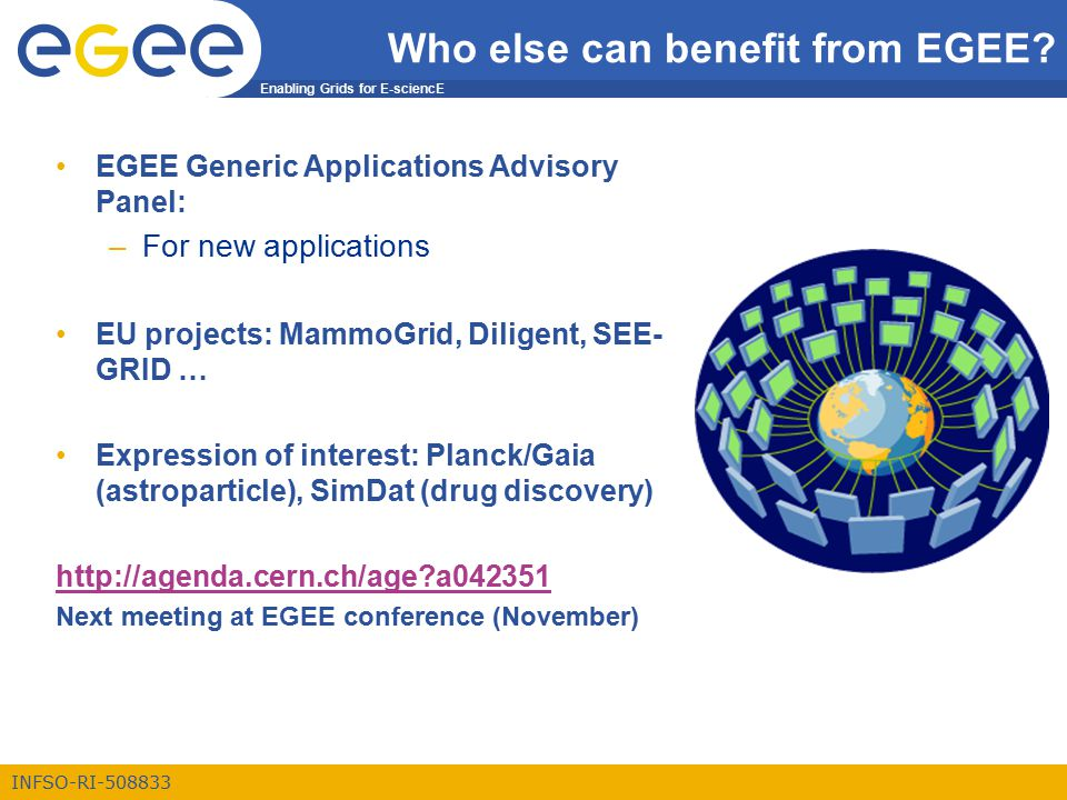 Enabling Grids for E-sciencE INFSO-RI-508833 Who else can benefit from EGEE.