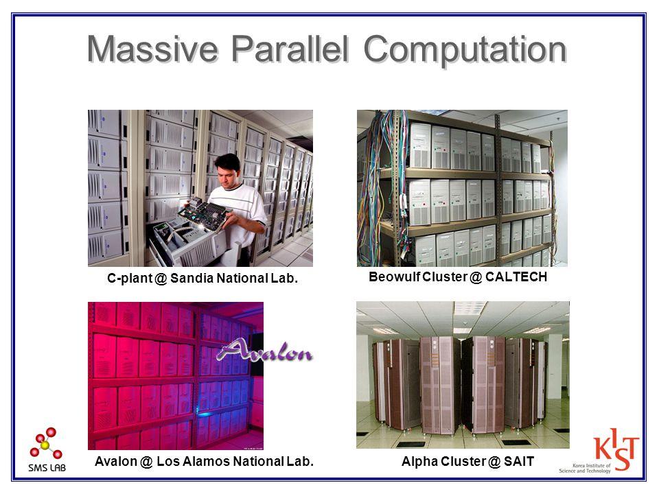 Massive Parallel Computation C-plant @ Sandia National Lab. Beowulf Cluster @ CALTECH Alpha Cluster @ SAITAvalon @ Los Alamos National Lab.