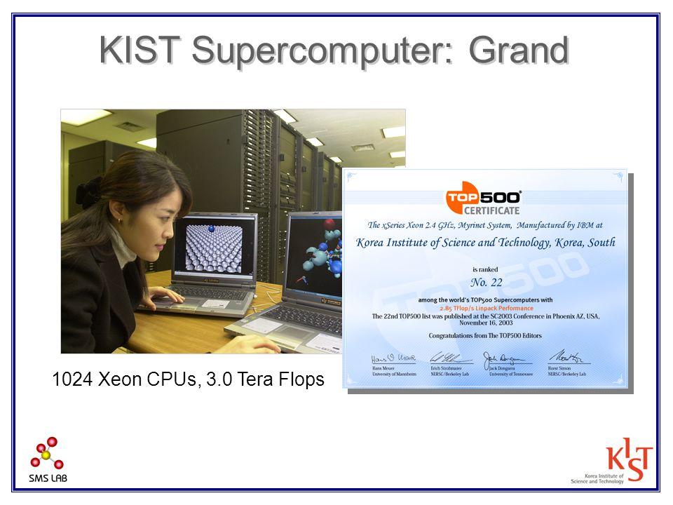 KIST Supercomputer: Grand 1024 Xeon CPUs, 3.0 Tera Flops