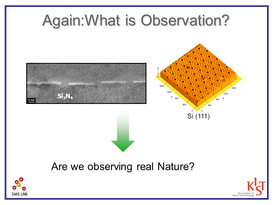 Again:What is Observation? Si 3 N 4 Si (111) Are we observing real Nature?