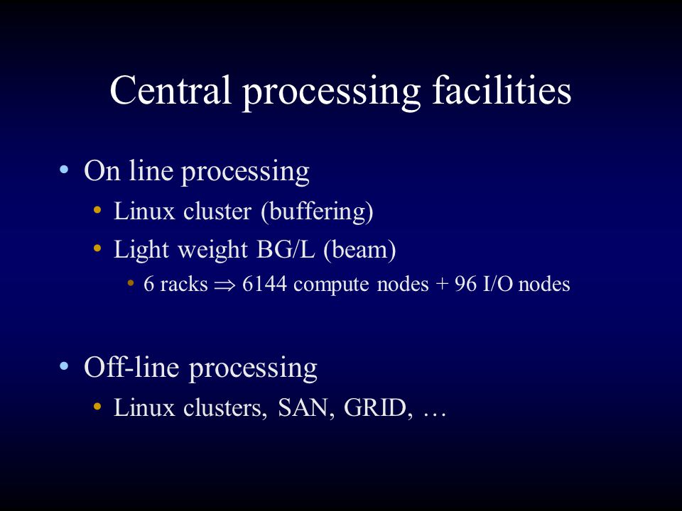 Central processing facilities On line processing Linux cluster (buffering) Light weight BG/L (beam) 6 racks  6144 compute nodes + 96 I/O nodes Off-li