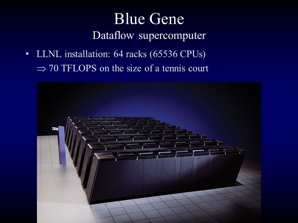 Blue Gene Dataflow supercomputer LLNL installation: 64 racks (65536 CPUs)  70 TFLOPS on the size of a tennis court