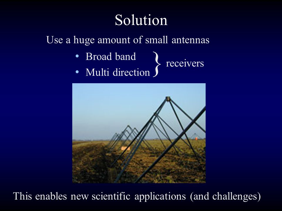 Solution Use a huge amount of small antennas This enables new scientific applications (and challenges) } Broad band Multi direction receivers