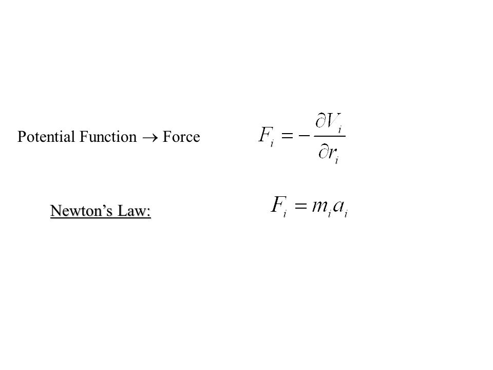 Newton's Law: Potential Function  Force