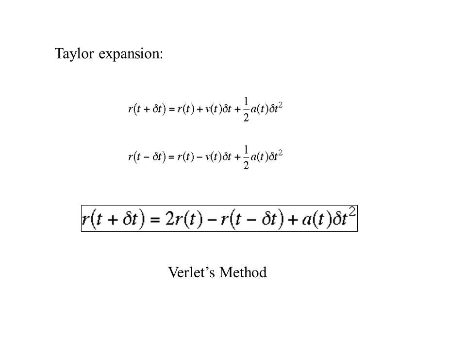 Taylor expansion: Verlet's Method