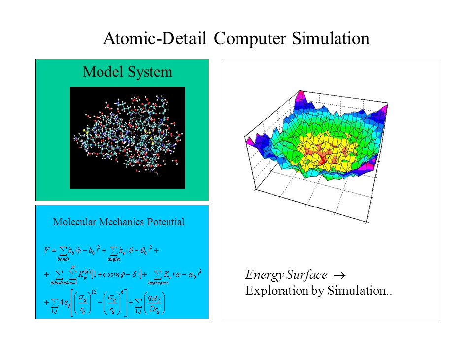 Atomic-Detail Computer Simulation Model System Molecular Mechanics Potential Energy Surface  Exploration by Simulation..