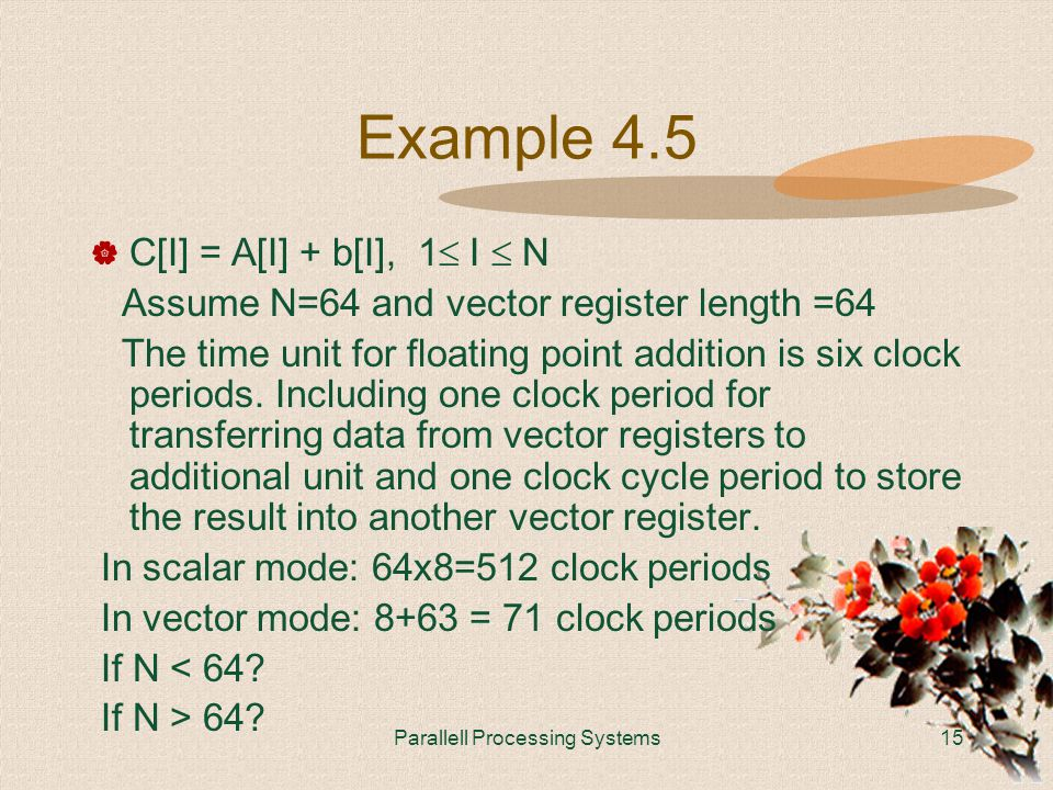 Parallell Processing Systems15 Example 4.5  C[I] = A[I] + b[I], 1  I  N Assume N=64 and vector register length =64 The time unit for floating point addition is six clock periods.