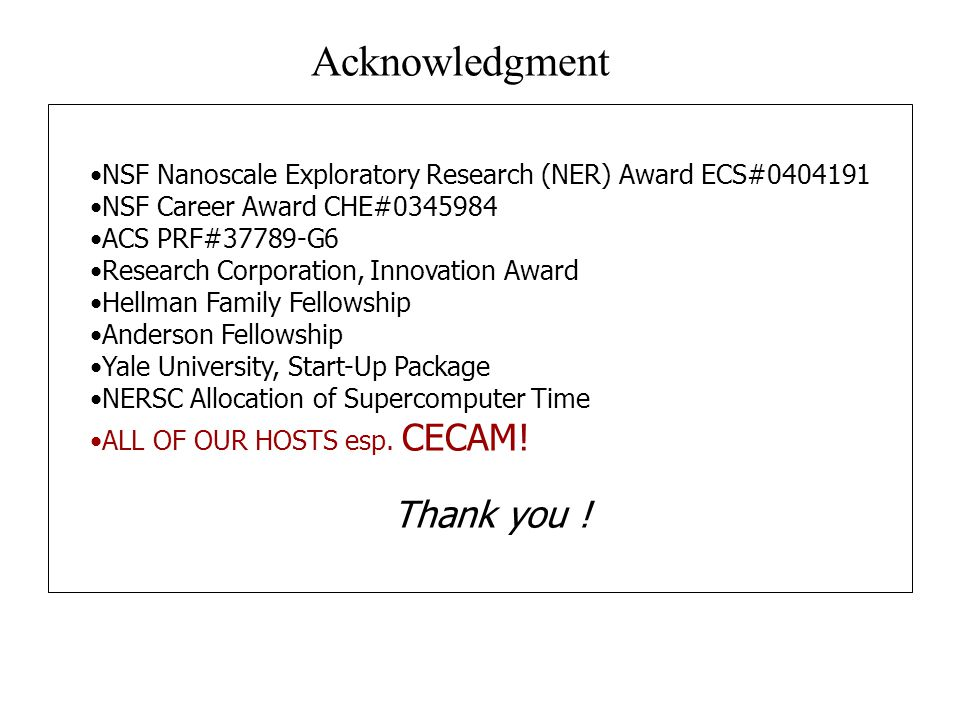 NSF Nanoscale Exploratory Research (NER) Award ECS#0404191 NSF Career Award CHE#0345984 ACS PRF#37789-G6 Research Corporation, Innovation Award Hellma