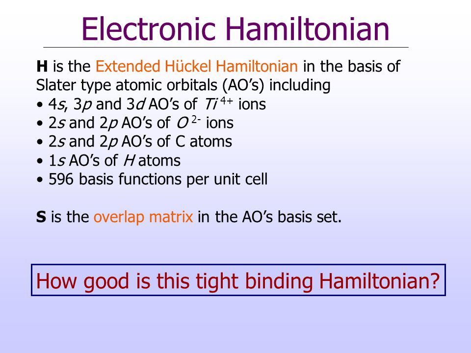 Electronic Hamiltonian H is the Extended Huckel Hamiltonian in the basis of Slater type atomic orbitals (AO's) including 4s, 3p and 3d AO's of Ti 4+ i