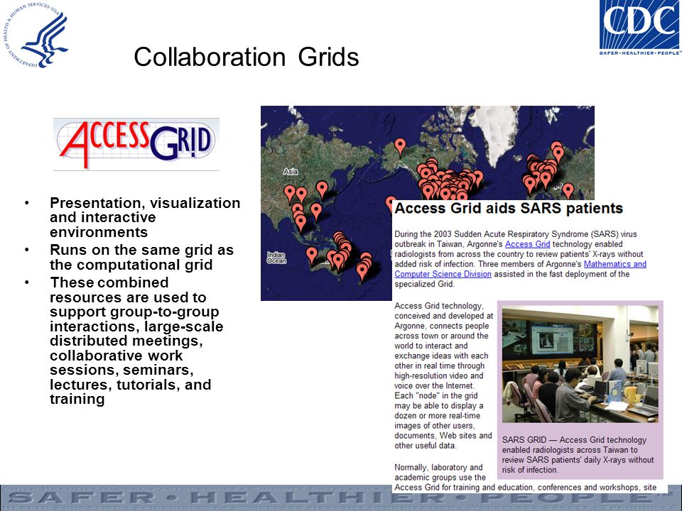 Collaboration Grids Presentation, visualization and interactive environments Runs on the same grid as the computational grid These combined resources are used to support group-to-group interactions, large-scale distributed meetings, collaborative work sessions, seminars, lectures, tutorials, and training