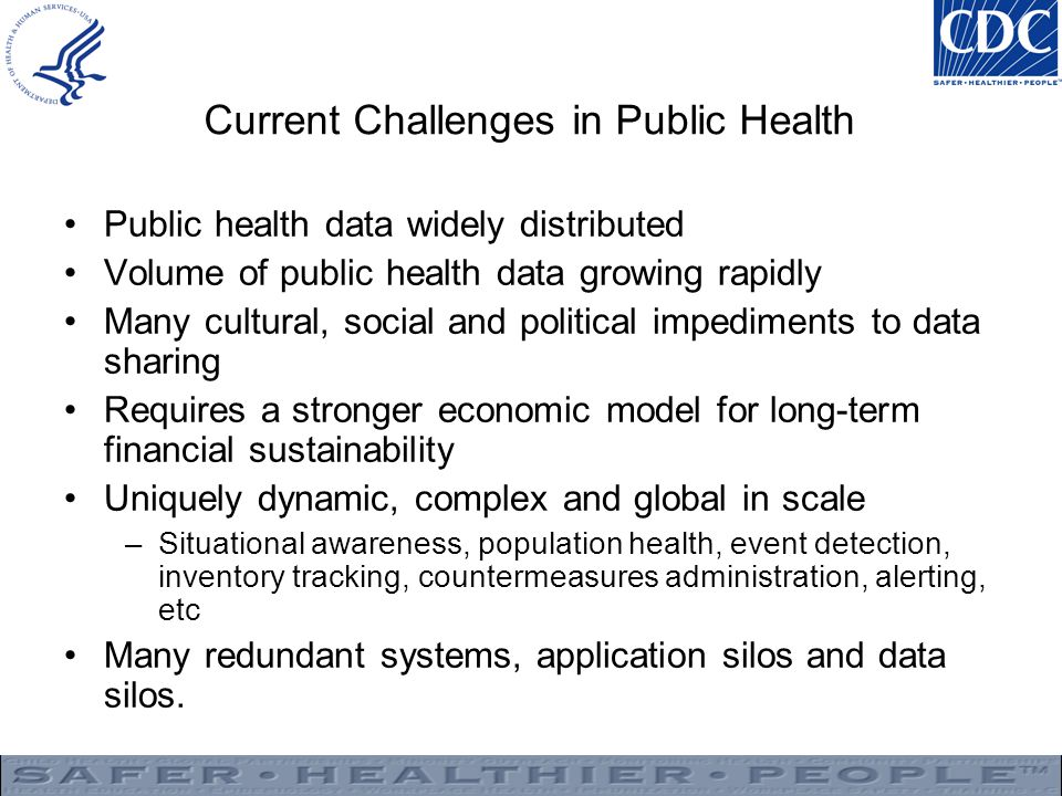 Current Challenges in Public Health Public health data widely distributed Volume of public health data growing rapidly Many cultural, social and political impediments to data sharing Requires a stronger economic model for long-term financial sustainability Uniquely dynamic, complex and global in scale –Situational awareness, population health, event detection, inventory tracking, countermeasures administration, alerting, etc Many redundant systems, application silos and data silos.